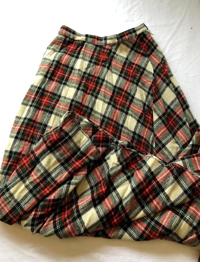 1960s Irish Skirt. Floor Length XS Tartan Skirt Vintage Wool Skirt