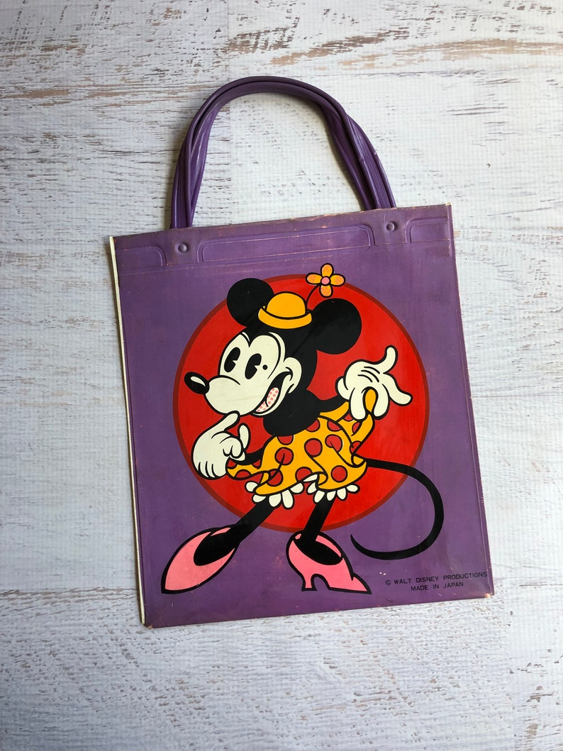 Vintage Mickey /& Minnie Tote Bag Purple Bag w Handles. 1970s Vinyl Bag Featuring Walt Disney Characters Minnie Mouse and Mickey Mouse