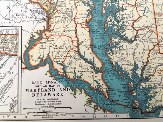 1937 Maine Antique Map. Old Map of Delaware, Maryland & Maine. Historical  Print, Lithograph for Framing. Beautiful 81 Yr Old Map to Frame.