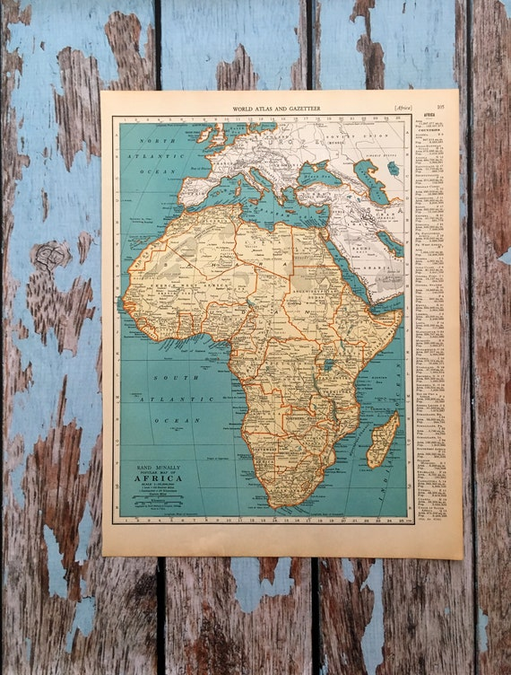 Map Of Africa Oceans.1937 Africa Antique Map Old Map Of Africa And Surrounding Oceans Historical Print Lithograph For Framing Beautiful 81 Yr Old Map To Frame