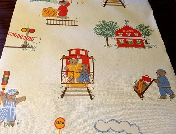 Roll Of Vintage Teddy Bear Wallpaper Textured Teddy Themed Etsy