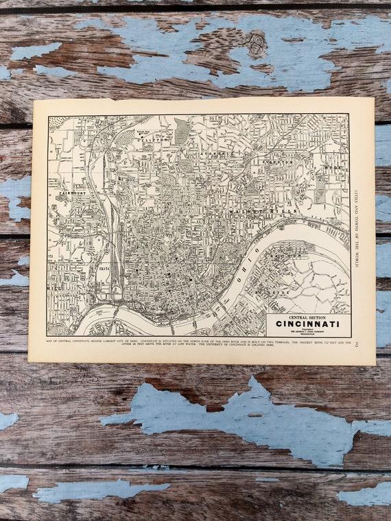 Antique Map of Cincinnati. City Map. 1937 Historical Print | Etsy