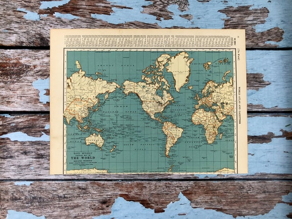Authentic World Map.1937 Antique World Map Vintage Map Of The World Polar Etsy