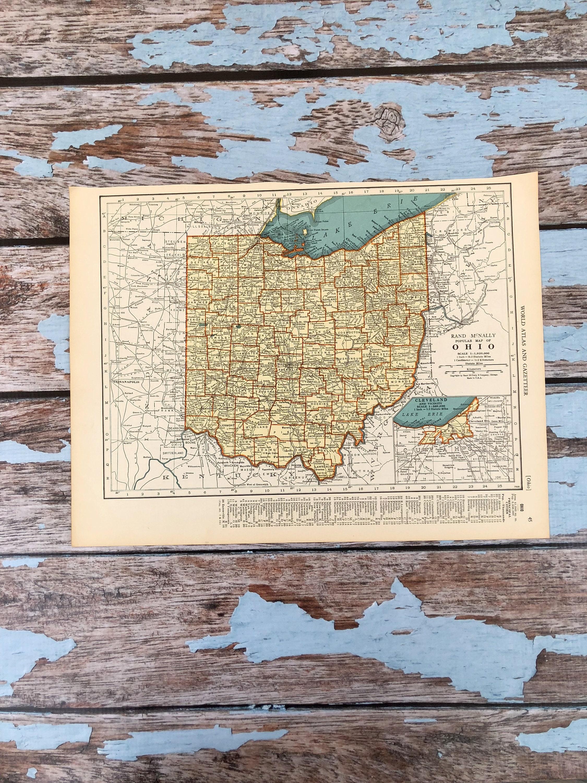 Antique Ohio Map.1937 Ohio Map Vintage Map Of Ohio Oklahoma Antique Etsy