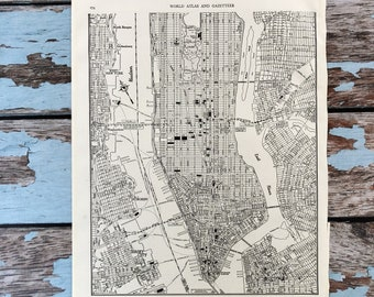 Antique Map of Lower Manhattan. New York City Map. NYC 1937 Historical Print, Lithograph. 80 Yr Old Map to Frame. Lower Manhattan East River