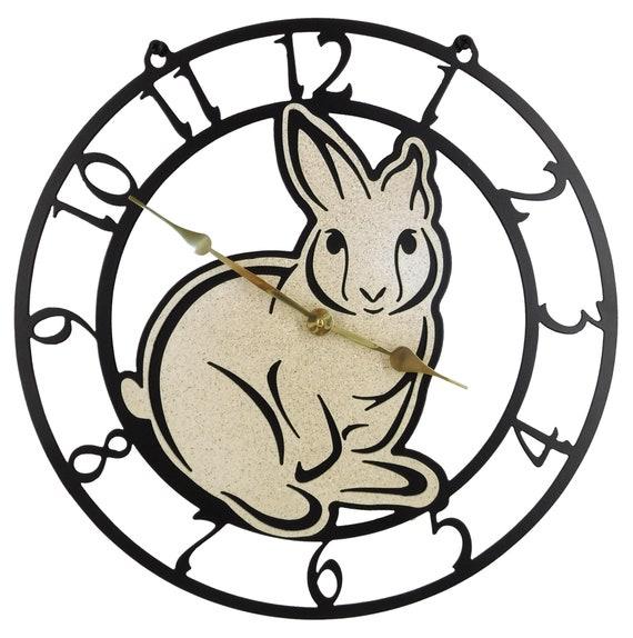Rabbit Bunny Wall Clock 15 Inch Wide Solid Steel Quartz