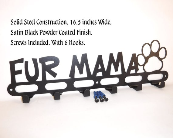 With Screws Gloss Black Finish 16.5 inches Wide Wall Storage Dog Mom Rescue Shelter Dog Dog Leash Wall Hook Hanger Holder Solid Steel