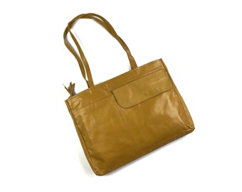 Vintage Mustard Yellow Leather Tote Bag 2 Handle Rectangle Flat Made in Columbia