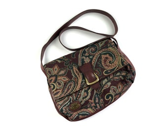 a62e7366964a Vintage Etienne Aigner Handcrafted Oxblood Red   Paisley Tapestry Woven  Fabric Leather Purse Bag