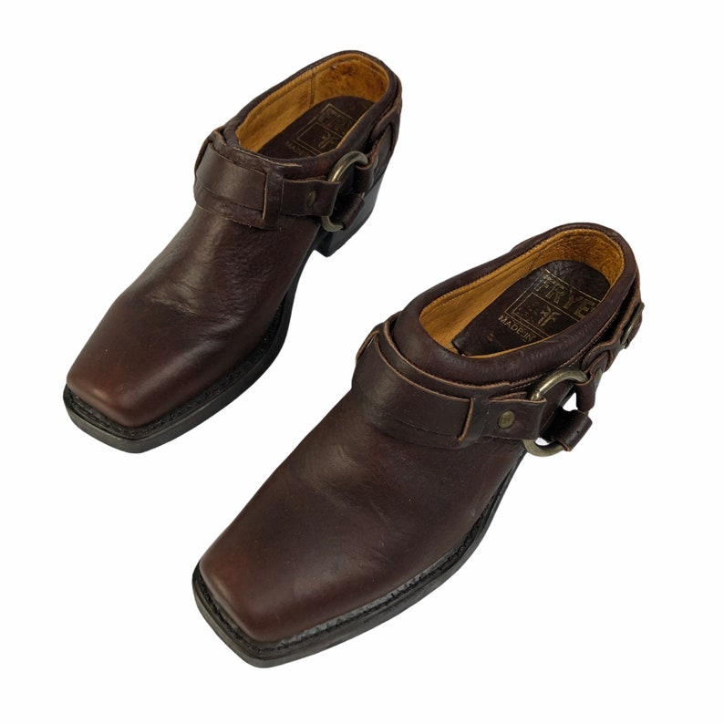Vintage Frye Dark Brown Leather Harness Slip on Mules Shoes 70760 USA made Size 5 12