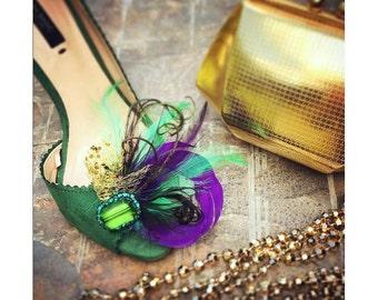 Wedding Shoe Clips. Mardi Gras Golden Gold Purple & Green Feathers. Bride Bridal Bridesmaid. Gift Clip. Emerald Glass Beads. Masquerade Date