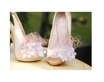 Easter Wedding Shoe Clips Pink & Lavender Pastels Hydrangea. Bridesmaid Bride. Yellow Grey Celadon Green Fuchsia Navy. Feathers Tulle Pearls