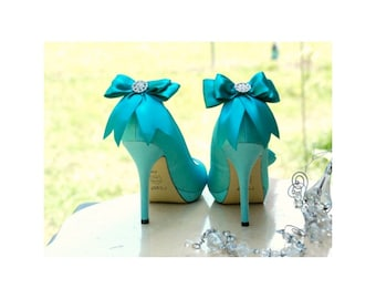 Shoe Clips Bow Teal / Royal Blue / White / Ivory. Sparkly Rhinestone Crystal & Satin Ribbon. Wedding Bridal Trend, More: Sage Pink Red Black
