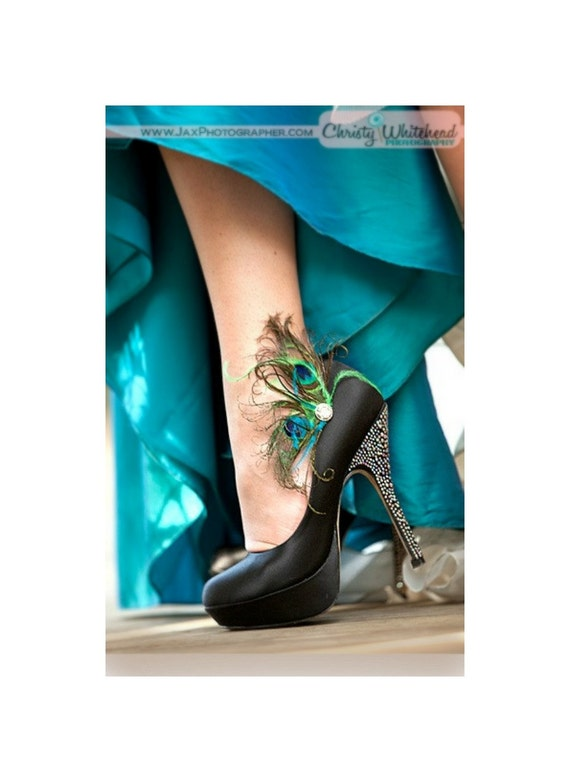 Fancy Shoe Clips Peacock Peacock Peacock Feathers Rhinestone Gem. Chaussures Paon / Pfau Strass Schuhclip, Wedding Bride Bridesmaid, Bold Couture Jewel Tone | Valeur Formidable