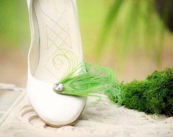 Shoe Clips Lime Green Peacock & Sparkly Rhinestone / Pearl. Statement Haute Couture. Orange Purple Turquoise. Stylish Bride Bridal Accessory