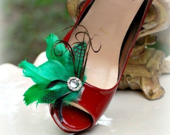 Shoe Clips Kelly Green Black Couture. Stylish Mixed Feather, St Patricks Day, Birthday Big Glamour Glitz & Shimmer, Bridal Bride Bridesmaids