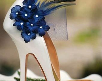 Wedding Shoe Clips Navy / Midnight Blue Flowers. Bridal Bride Dark Marine, Silver or Gold Glitter / Pearls Center Tulle, Maritime Nautical