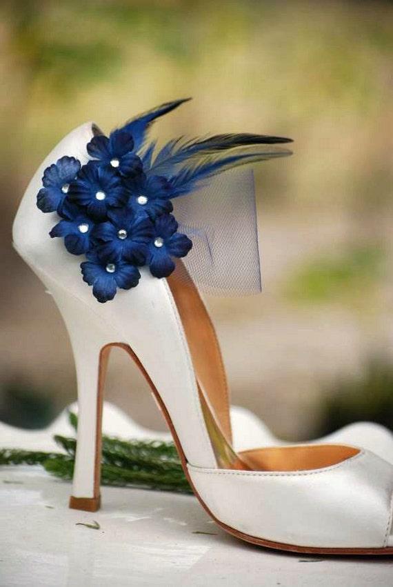 Wedding Shoe Clips Navy   Midnight Blue Flowers. Bridal Bride  5c1af29af5