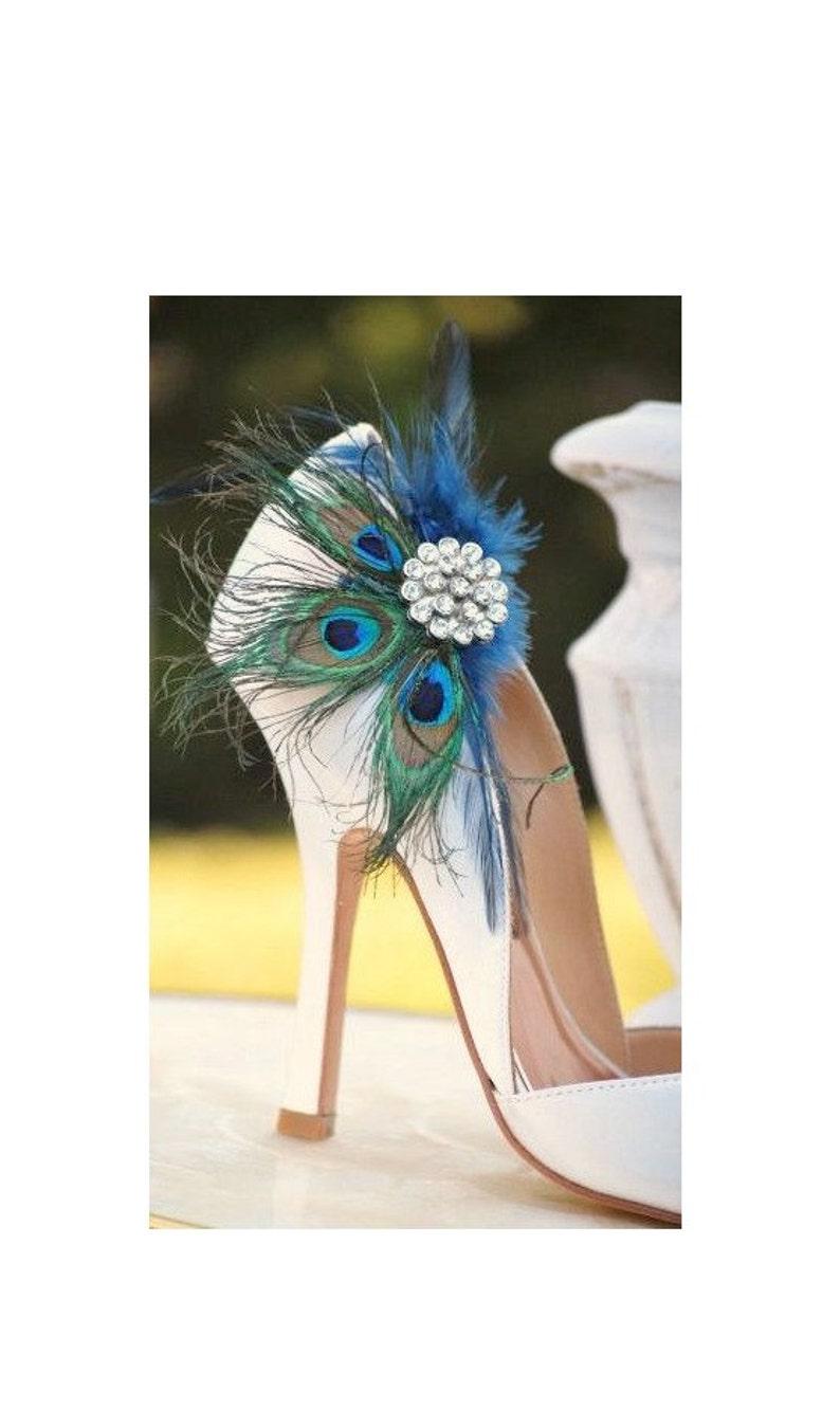 30334f4ea8fd Shoe Clips Navy Blue   Peacock Fan. Bride Bridal Bridesmaid
