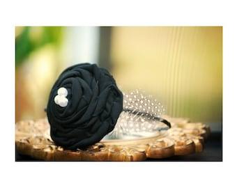 Classy Big Headband Ebony Black Rosette & Ivory White Pearl. Winter Bride Bridesmaid Bridal, Kid Teen Preteen Birthday, Couture Statement