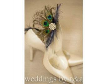 Wedding Bridal Shoe Clips Royal / Navy Blue & Peacock. Bride Bridesmaid, Birthday Glamour Feminine, Big Large Rhinestone Statement Metallic