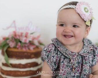 Flower & Pearl Hair Clip / Headband. Etsy Handmade Preteen Teen Fashion, Princess Birthday Party, Pink White Fuzzy Swirl, Elegant Baby Pin