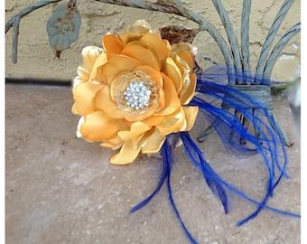 Gold Yellow & Royal Blue Hair Clip or Comb. Eggplant, Red, Amethyst Flower. Fascinator Bride Bridal Bridesmaid, Rhinestone Crystals Pearls