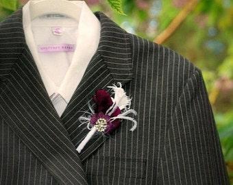 Boutonniere Buttonhole Aubergine Purple / Red / Amethyst & Rhinestone Crystals. Sophisticated Summer, Bridal Groom Groomsmen, Eggplant Plum