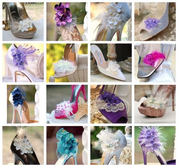 Shoe Clips Feather /& Square Diamond Rhinestone Magenta Bride Bridal Bridesmaid Couture Also Ivory White Aqua Blue Teal Purple Red Green