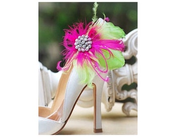 Statement Shoe Clips. Fuschia & Lime Green Feathers Bridal Bridesmaid Bachelorette Sophisticated, Rhinestone Crystals, Bright Ostrich Goose