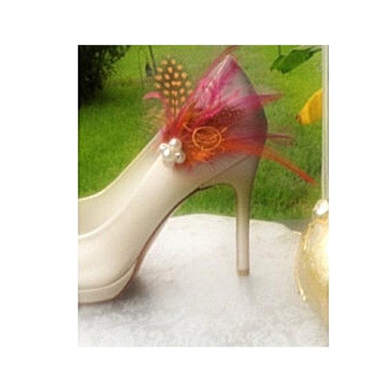 Shoe Clips Tangerine Tangerine Tangerine Orange Black Guinea & Fuchsia Watermelon Feathers. Bright Spring Couture, Bride Bridal Bridesmaid MOH Gift | Expédition Rapide  da753b