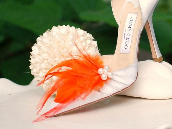 Bride Shoe Shoe Shoe Clips Orange Tangerine & Ivory Pearls / Rhinestone Crystal. StateHommes t Couture Bridal Bridesmaid EngageHommes t. Mint Blue Red Purple c5770e