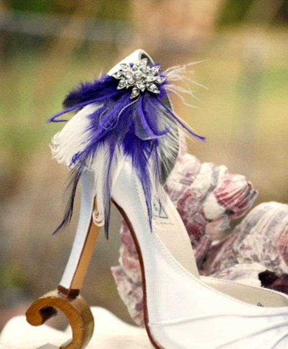 Shoe Clips Ivory Royal Purple Purple Purple Feathers & Rhinestone. Bridal Bridesmaid StateHommes t. Boudoir Burlesque. Sparkle Crystals Blue Kelly Green White 7f3cef