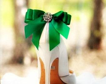 Shoe Clips Bow Kelly Green Emerald. Yellow Tangerine Orange Blue Purple Bright Satin Ribbon. White Ivory Pearl / Rhinestone. St Patricks Day