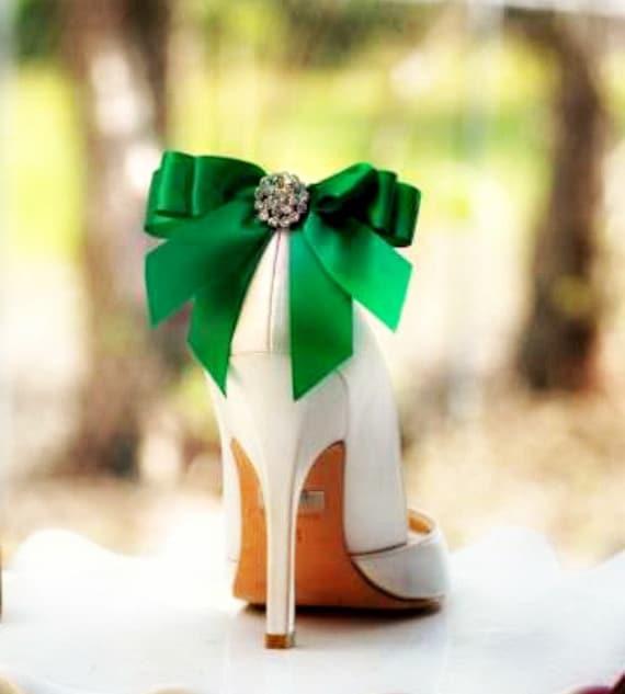 Shoe Clips Bow Kelly Green Emerald. Emerald. Emerald. Yellow Tangerine Orange Blue Purple Bright Satin Ribbon. White Ivory Pearl / Rhinestone. St Patricks Day | 2019  5acd42