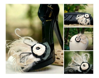 Shoe Clips Champagne Ivory Rosette & Black Feathers. Bride Bridal Bridesmaid Couture, Lush Edgy Pantone, Shabby Chic Gift, Statement Boudoir