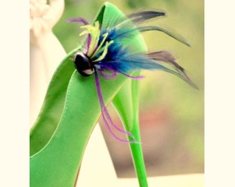 Shoe Clips Navy Purple Green Rooster & Ostrich Feather. Fun Bride Bridal Bridesmaid Couture Fashion, Birthday Engagement Bachelorette Party