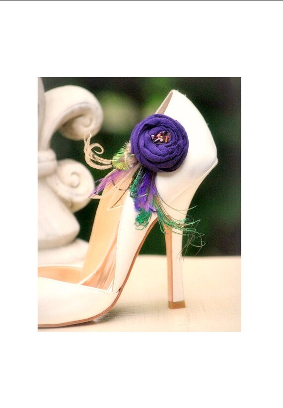 Purple & & & Green Feathers Shoe Clips. StateHommes t Fashion, Handmade Couture Bride Bridesmaids. Tan Teal Orange Tangerine, Formal Party Shoe Clip | élégant
