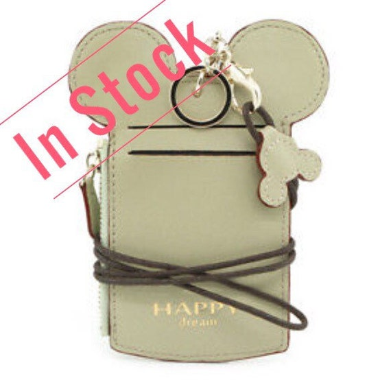 Personalized Green Mickey Mouse Lanyard ID Holder Disney Vacation Coin Purse Monogrammed