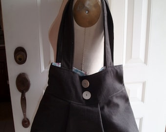 Womens Natural Brown Cotton  Pleated Bag with Double Straps Hobo bag Vegan bag Canvas bag