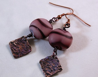 Copper Earrings - Purple Bead Earrings - Purple Swirl Ceramic Bead - Copper Jewelry