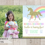 Unicorn Photo Invitation, Unicorn Birthday Invitation, Unicorn Invitation, Pastel Rainbow Invitation, Gold Glitter Unicorn Invitation