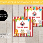 FAVOR TAG, Instant Download, Circus Favor Tag, Carnival Thank You Tag, Circus Theme Thank You Tag, Circus Printable, Circus Birthday Tag