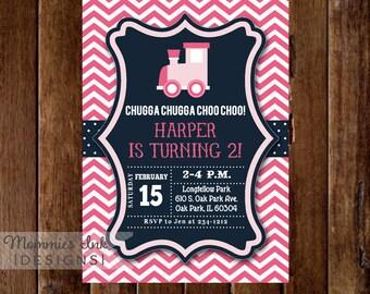 Train Invitation, Train Birthday Party, Choo Choo Train Invitation, Girl Birthday Invitation, Train Party Invitation, Train Invite, Pinn