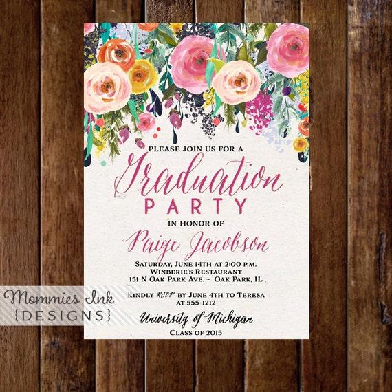 Graduation Party Invitation, Watercolor Flowers Invitation, Floral Invitation, Class of 2015, Open House Invite, Commencement Invitation