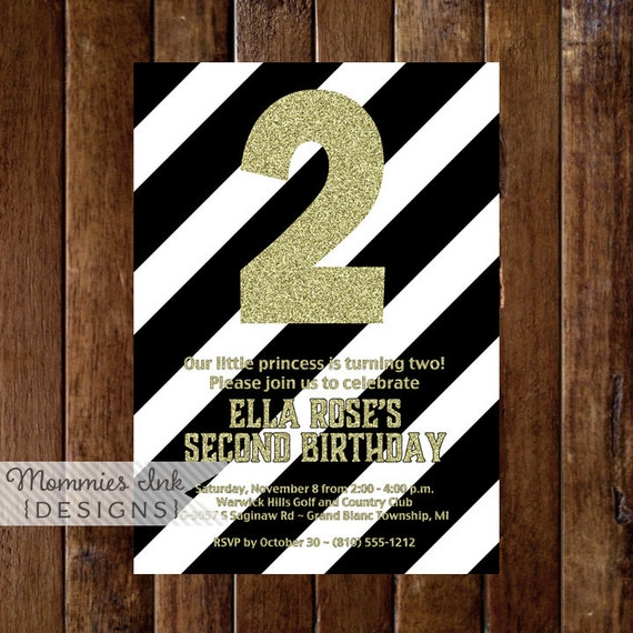 Gold Glitter Invitation Black And White Stripes Invite 2nd Birthday Second
