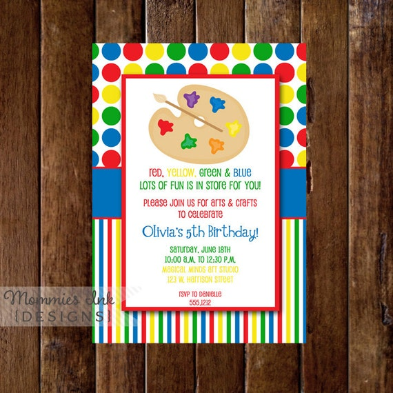 arts and crafts birthday party invitation art party crafts party