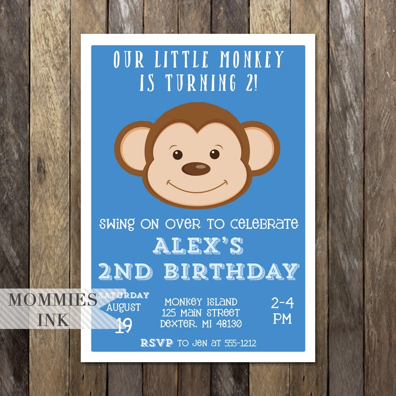 Blue Monkey Birthday Party Invitation Little Invite
