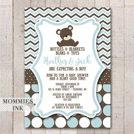 Teddy Bear Baby Shower Invitation Teddy Bear Invitation It S A Boy