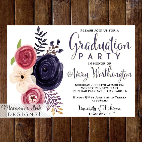 Floral Graduation Party Invitation Watercolor Floral Invitation